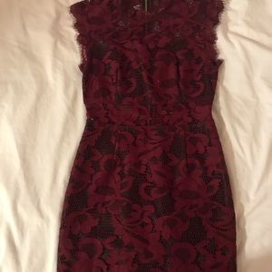Lace maroon bodycon dress